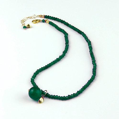Choker agata verde smeraldo con ciondolo