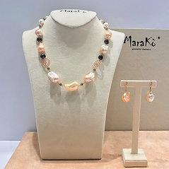 Gioielli perle barocche rosa e quarzo fumé