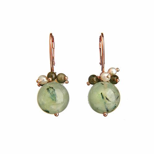 Orecchini quarzo rutilato verde,ossidianae perle