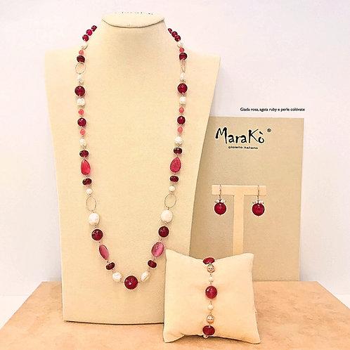 Gioielli giada rosa, agata ruby e perle coltivate