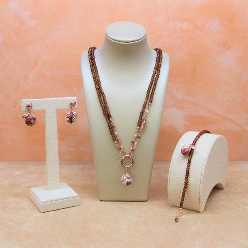 Gioielli agata brown, diaspro e perle rosa - Collezione Le Meline