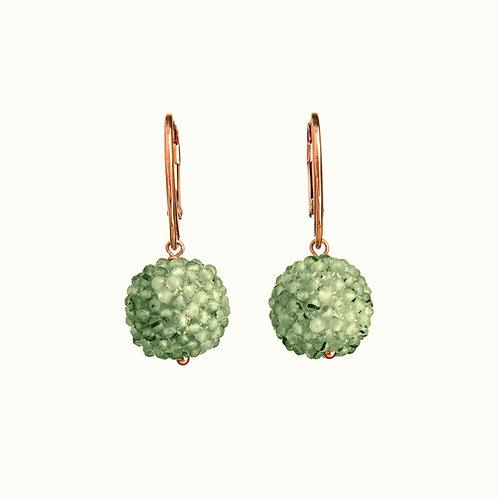 Orecchini sfere tessute a mano in quarzo rutilato verde diamond