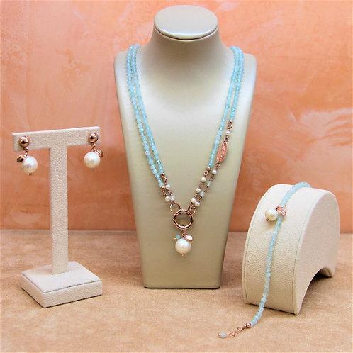 Gioielli acquamarina milk diamond e perle bianche colt. - Collezione Le Meline