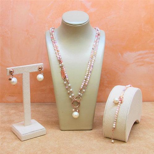 Gioielli opale rosa diamond e perle bianche coltivate - Collezione Le Meline