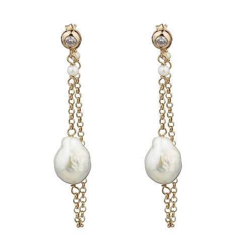 Orecchini catena perle