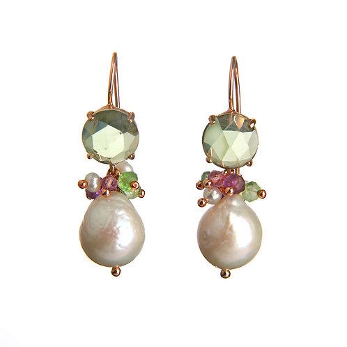 Orecchini ametista verde idrotermale, quarzi multicolor e perle