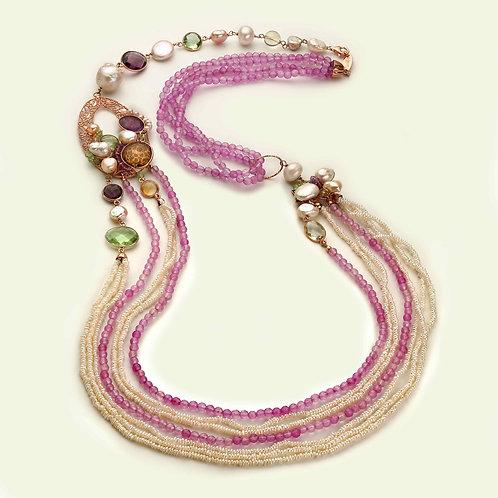 Collana giada lavanda e perle coltivate
