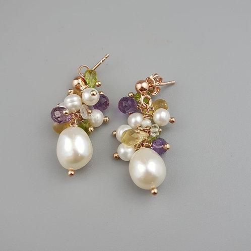 Orecchini perle quarzi