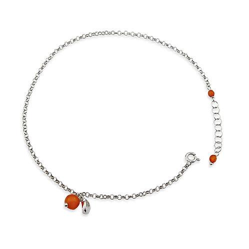 cavigliera argento pietra arancione