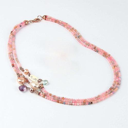 Collana acquamarina multicolor diamond e perle - Collezione Waterlily