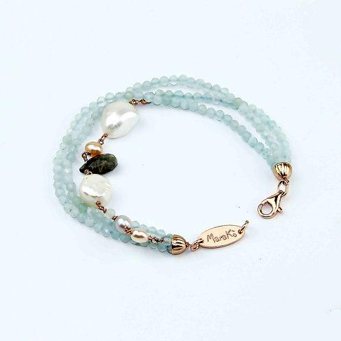 Bracciale acquamarina diamond e perle - Collezione Waterlily
