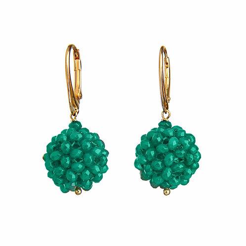 Orecchini sfere tessute a mano in agata verde smeraldo