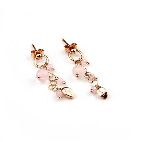 Orecchini quarzo rosa diamond - Grapes