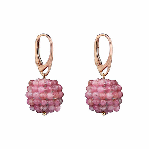 Orecchini sfere tessute a mano in tormalina rosa diamond