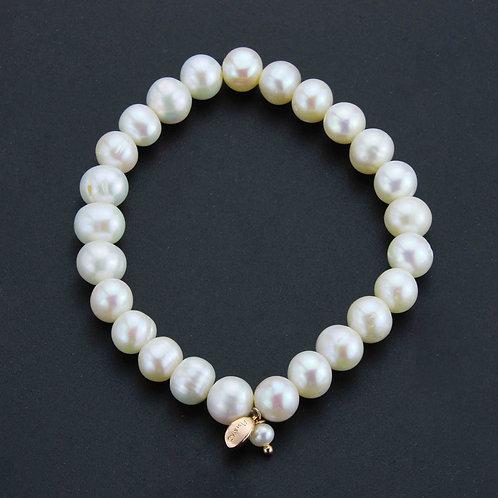 Bracciale elastico perle bianche coltivate 8 mm