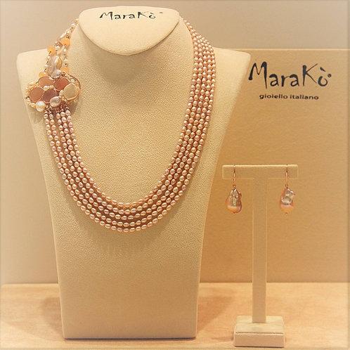 Gioielli perle rosa coltivate e giada salmone