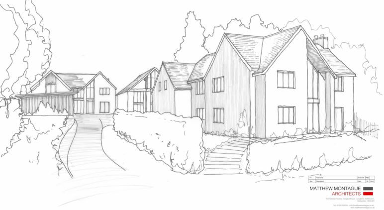 Initial sketch ideas for residential development at 36 Hazelwood Road, Duffield, Derbyshire.