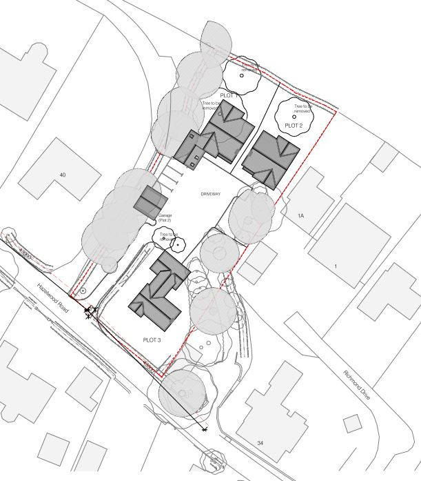 Site Plan for 3 new dwellings at 36 Hazelwood Road, Duffield.