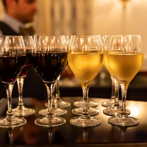 Row of Wine Glasses on a Bar_Fairmount Royal York Hotel_Food Photography by Bonjour Tasty.