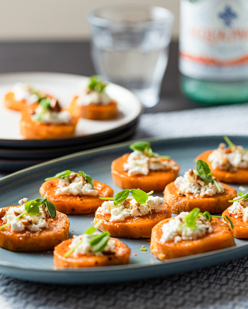 Sweet Potato Rounds with Goat Cheese on Serving Dish _Food Photography_Bonjour Tasty by Fl