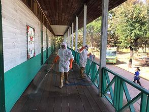 อบต.คำนาดี ออกพื้นที่ทำความสะอาดฉีดพ่นยาฆ่าเชื้อตามโรงเรียนต่าง ๆ ป้องกันโควิด-19