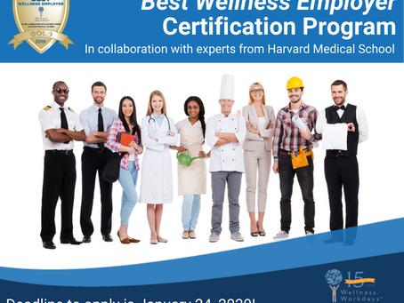 2020 Best Wellness Employer Certification Survey Open for Employers