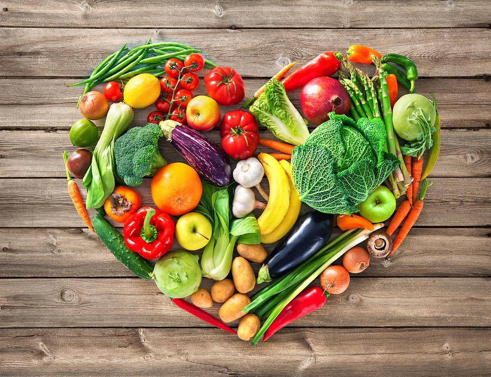 fruits and vegetables heart shape heart health