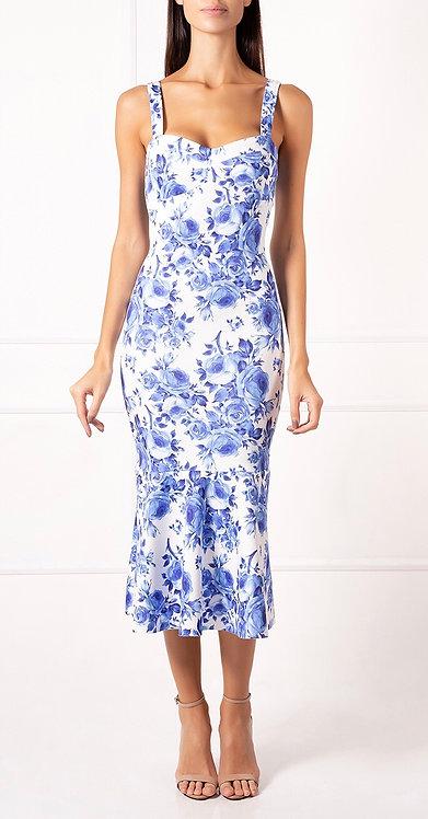 Vestido Midi Floral Azul