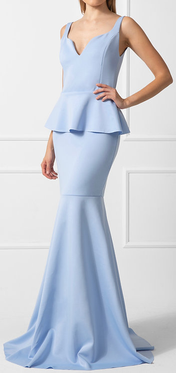 Vestido ZMR Peplum Azul Claro