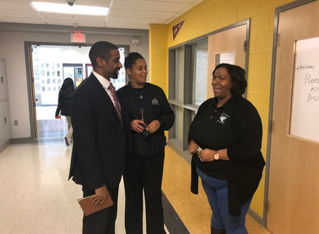 Bryan Swann engaging with students and teachers at Fairmont Heights HS - Feb 20