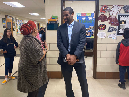 Bryan Swann engaging with students and teachers at Beacon Heights ES - March 5th.
