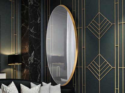 Espejo ovalado con base de 4 cm de DM acabado en PAN DE ORO. Luna biselada.MEDID