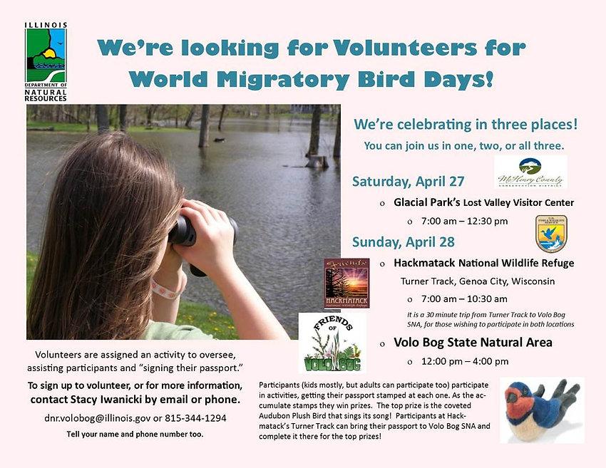 looking for volunteers for migratory bir