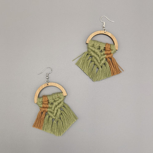 Green Chevron Earrings