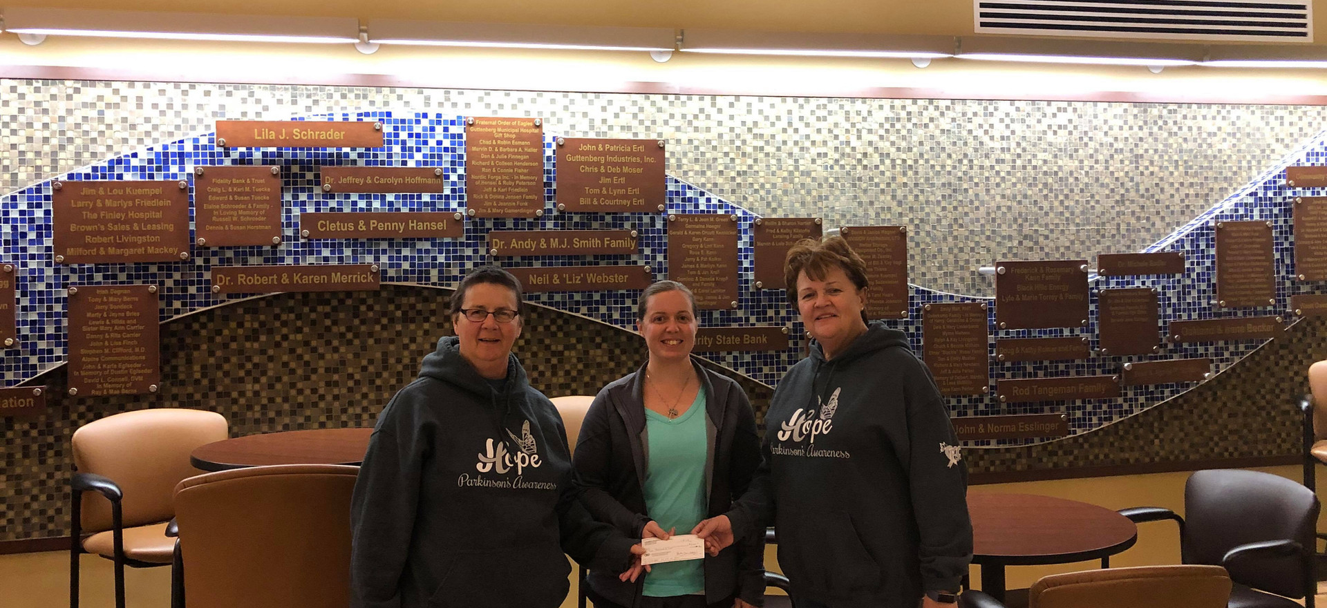 Presenting a donation to the Guttenberg Hospital (to help with Parkinson's associated costs).