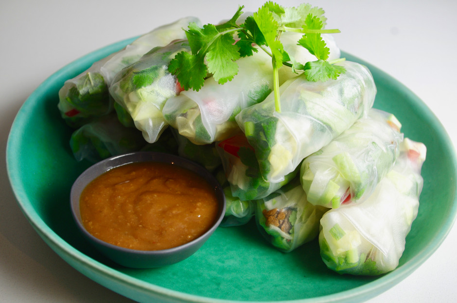 Vietnamese rice paper rolls with peanut dipping sauce