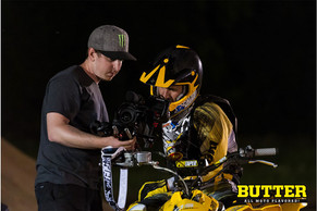 Producers Luke and Derek working on Butter All Moto Flavored