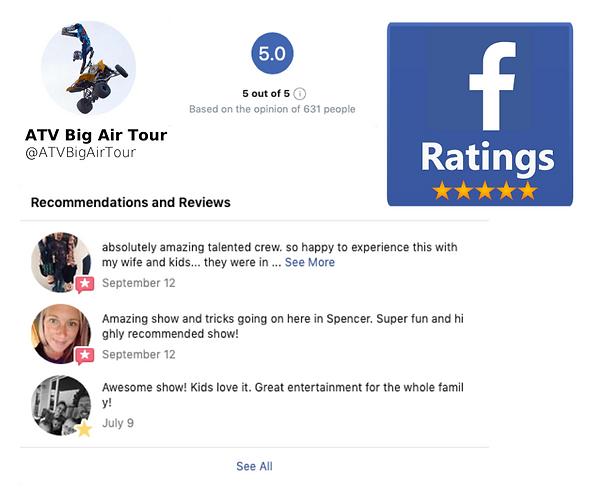 ATV Big Air Tour 5 Star Reviews Fan Favo