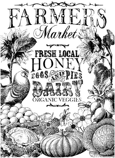 "The Farmer's Market Transfer 24"" x33"" Paintable!"