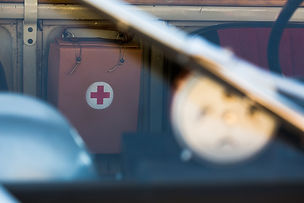 Focused medical care is representd by focused red cross in image