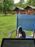 Feet up, writing with a view.