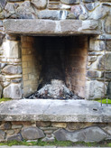 The fireplace.
