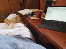 More writing w/ cozy blankets.