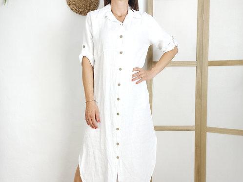 Vestido Largo Lino Mireia Blanco