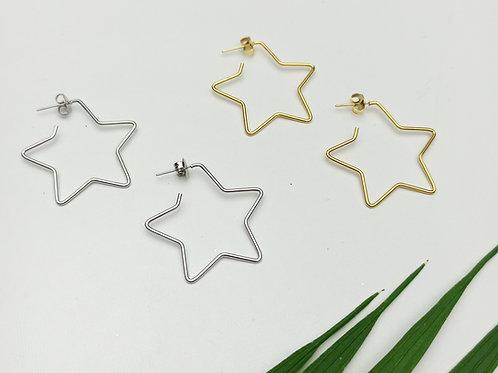 Pendientes Acero Silueta Estrella