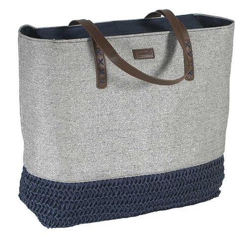 Bolso Playa Lona y Crochet Azul