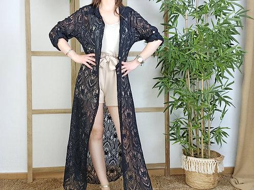 Vestido Encaje Camisero Gala Negro