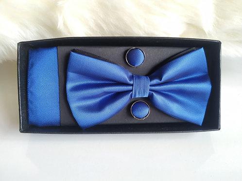 de Set Pajarita Pañuelo y Gemelos Azul Klein