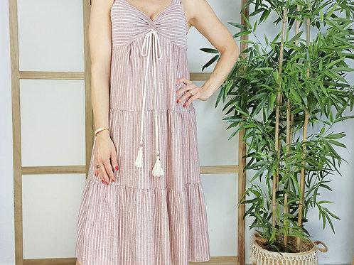 Vestido Rayas Greta Granate
