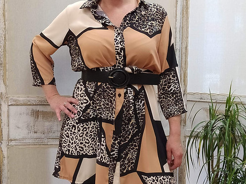 Vestido Geométrico Animal Print Verónica